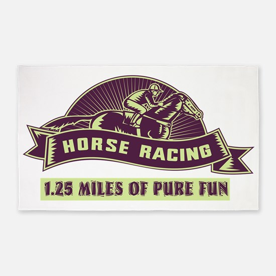 jockey horse race racing woodcut 3'x5' Area Rug