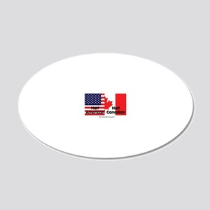 american-canadian-flag 20x12 Oval Wall Decal