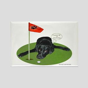 Black Lab Golfer Rectangle Magnet
