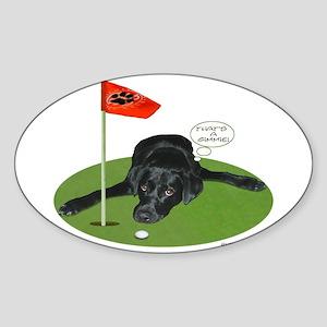Black Lab Golfer Oval Sticker