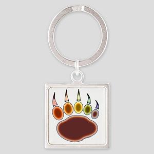 034-Bear-Paw~Rainglow Square Keychain
