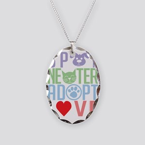 Spay-Neuter-Adopt-Love-2010 Necklace Oval Charm