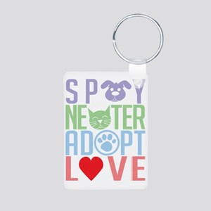 Spay-Neuter-Adopt-Love-201 Aluminum Photo Keychain