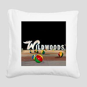 Wildwoods Sign Wildwood New J Square Canvas Pillow