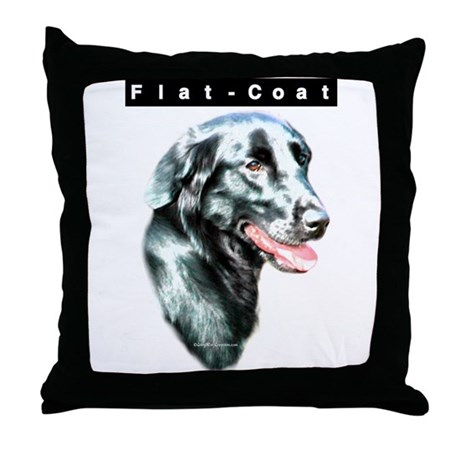 Flat-Coat Head Throw Pillow