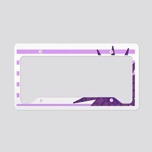 purple flower bev omi lee License Plate Holder