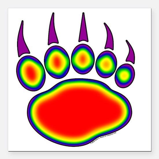 "030-Bear-Paw~Heat-Map Square Car Magnet 3"" x 3"""