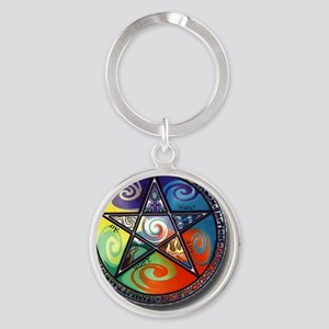 pentacle elements Round Keychain