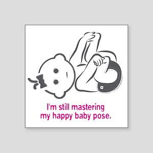 "Yoga_HappyBaby_Pink Square Sticker 3"" x 3"""