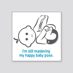 "Yoga_HappyBaby_Blue Square Sticker 3"" x 3"""