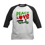 Peace Love Motor Scooter Kids Baseball Jersey