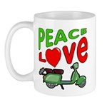 Peace Love Motor Scooter Mug