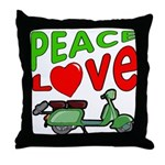 Peace Love Motor Scooter Throw Pillow