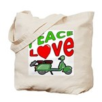 Peace Love Motor Scooter Tote Bag