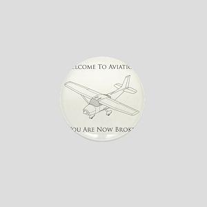 Aviation Broke Black Text Mini Button