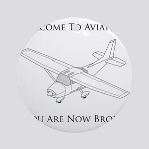 Aviation Broke Black Text Round Ornament