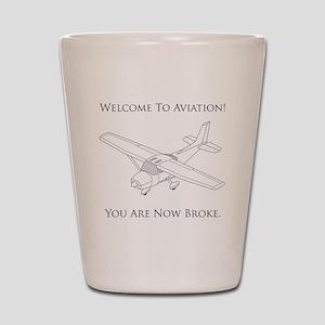 Aviation Broke Black Text Shot Glass
