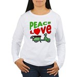Peace Love Motor Scooter Women's Long Sleeve T-Shi