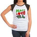 Peace Love Motor Scooter Women's Cap Sleeve T-Shir