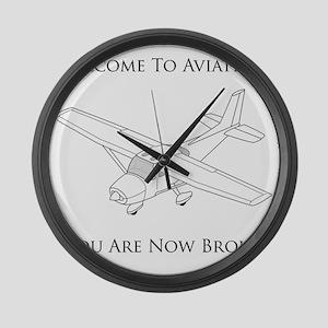 Aviation Broke Black Text Large Wall Clock