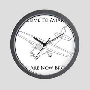 Aviation Broke Black Text Wall Clock
