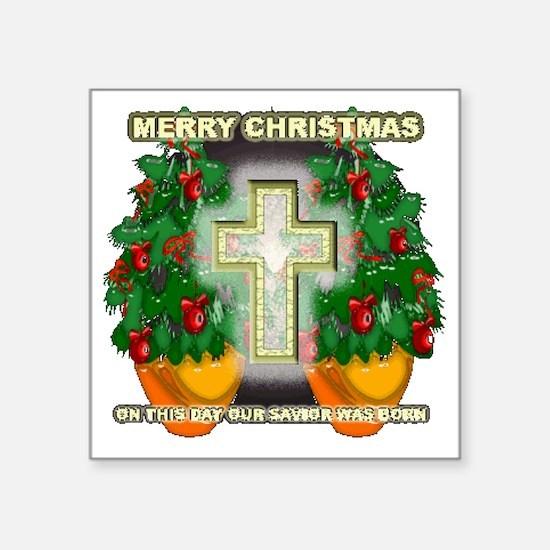 "Christmas cross n stuff Square Sticker 3"" x 3"""