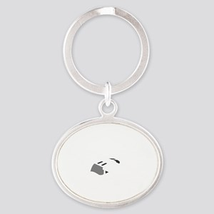 Aviation Broke White Text Oval Keychain