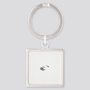 Aviation Broke White Text Square Keychain
