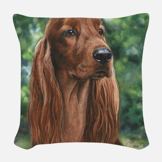 Irish_Setter_M Woven Throw Pillow