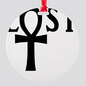 lost ankh black copy Round Ornament