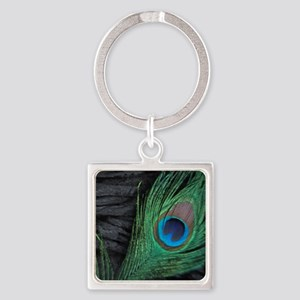stadium black velvet peacocks Square Keychain