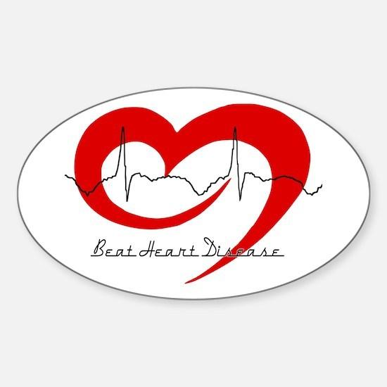 Heart Health - Beat Heart Dis Oval Decal