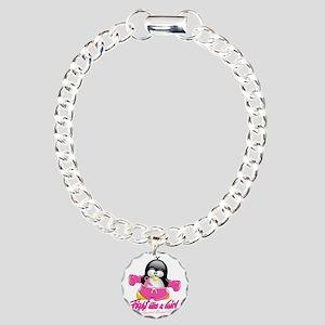 BC-Fighting-Penguin Charm Bracelet, One Charm