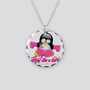BC-Fighting-Penguin Necklace Circle Charm