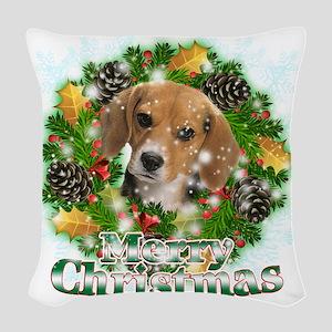 Merry Christmas Beagle Woven Throw Pillow