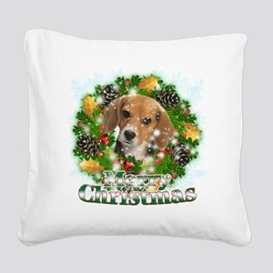 Merry Christmas Beagle Square Canvas Pillow