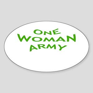 ONE WOMAN ARMY Oval Sticker