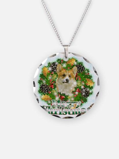 Merry Christmas Corgi Necklace Circle Charm