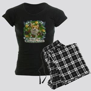 Merry Christmas Corgi Women's Dark Pajamas