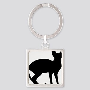 cat_sphynx Square Keychain