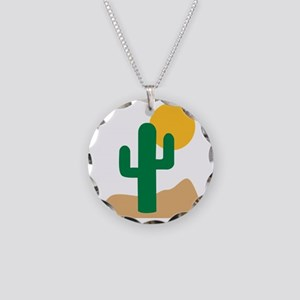 desert_cactus Necklace Circle Charm