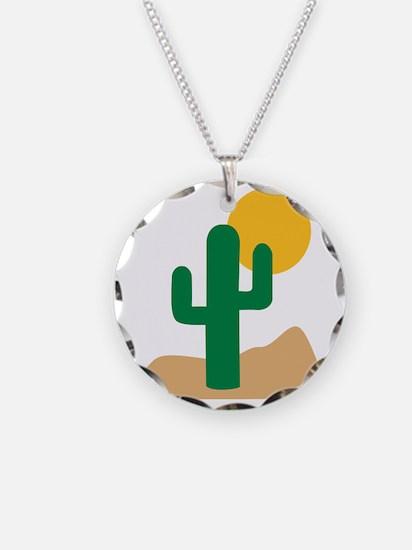 desert_cactus Necklace Circle Charm