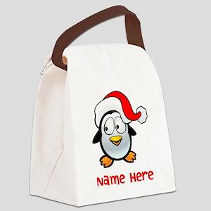 Penguin Santa Canvas Lunch Bag
