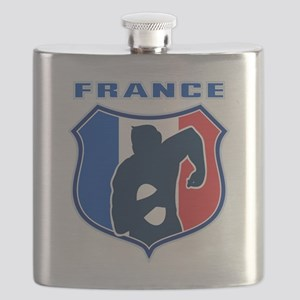 rugby player shield france flag Flask