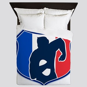 rugby player shield france flag Queen Duvet