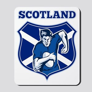 rugby player running shield scotland fla Mousepad