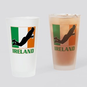 rugby playing diving try ireland fl Drinking Glass