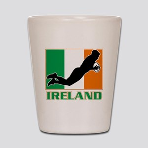 rugby playing diving try ireland flag Shot Glass