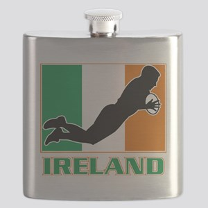 rugby playing diving try ireland flag Flask