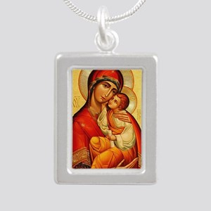 Blessed Virgin Mary Silver Portrait Necklace